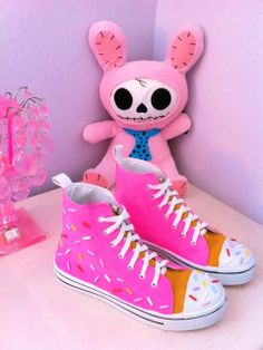 Donut Pink Sprinkles Kawaii Decora Sneaker Shoes by BlackOutDoll, $65.00