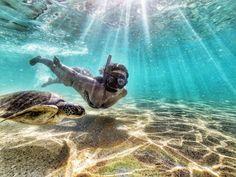 Swimming in the Fernando de Noronha's archipelago in the northeast of Brazil.  Photo by Max Fercondini.