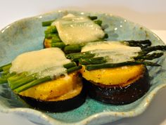 Stacked Eggplant, Polenta and Asparagus with Gruyere