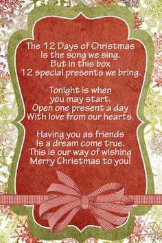 Love this idea! 12 Days Nativity--Great Idea