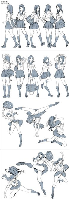 Poses-Colegiala// Excuse the flashing, but some helpful pose models Art Poses, Drawing Poses, Manga Drawing, Drawing Tips, Figure Drawing, Drawing Reference, Manga Art, Drawing Sketches, Art Drawings