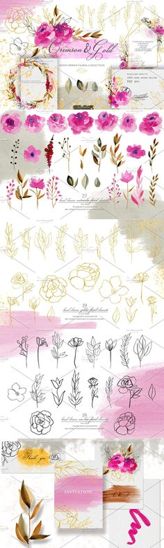 Wedding Card Templates, Logo Templates, Floral Bouquets, Floral Wreath, 7 Logo, Personal Logo, Watercolor Flowers, Textile Design, Hand Drawn