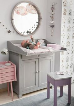 a changing table that allows you to change baby laying down vertically, not horizontally. I wondered if t a changing table that allows you to change baby laying down vertically, not horizontally. I wondered if they had these! Baby Bedroom, Nursery Room, Girls Bedroom, Nursery Ideas, Rose Nursery, Baby Changing Tables, Deco Kids, Everything Baby, Baby Furniture