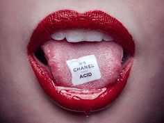 Chanel Acid by Tyler Shields. Buy photographer Tyler Shields photography, historical fiction images, Francesca Eastwood prints for sale. Tyler Shields, Tableau Pop Art, Photo Wall Collage, Red Aesthetic, Limited Edition Prints, Red Lips, Prints For Sale, Aesthetic Wallpapers, Drugs