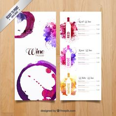 More than 3 millions free vectors, PSD, photos and free icons. Exclusive freebies and all graphic resources that you need for your projects Menu Restaurant, Menu Bar, Menue Design, Food Design, Design Design, Menu Resto, Wine Advertising, Wine Logo, Wine Display