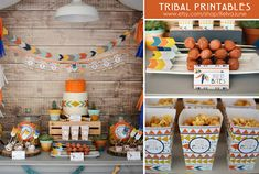 THESE ITEMS ARE PRINTABLE DIGITAL FILES This collection was created as a custom item and is now available for YOU! This listing is for the DIY printable collection : : Tribal Party or Shower, however individual items can be purchased ala carte for $5.00 each. Convo me for a reserved