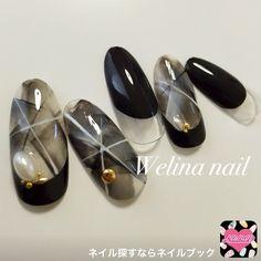 (389574) Simple Nail Art Designs, Nail Designs, Sculpted Gel Nails, Japan Nail, Fingernails Painted, Korean Nails, Lines On Nails, Nails Design With Rhinestones, Japanese Nail Art