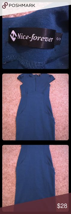 MIDI length puff sleeve dress NAVY COLOR MIDI length puff sleeve dress in a beautiful blue color. Worn once to dinner for my anniversary. Dresses Midi
