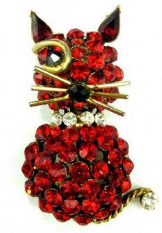 Vintage Red Rhinestone Winking Cat Brooch Pin