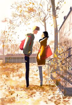 The Question - Pascal Campion Couple Illustration, Digital Illustration, Autumn Illustration, Illustration Mignonne, Pascal Campion, Couple Art, Illustrations And Posters, American Artists, Cartoon Art