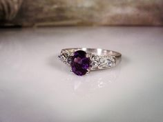 1970s, Amethyst Ring, Sterling Silver Ring, Purple Amethyst Ring, Oval Amethyst Ring, Purple Ring,Genuine Amethyst Ring,Amethyst – Size 8.25 by CarolsVintageJewelry on Etsy