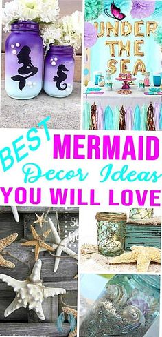 If you have a party on the horizon that you need to plan why not make it a mermaid themed party I have some excellent DIY mermaid party decor for you.<br> Birthday Party Decorations For Adults, Mermaid Party Decorations, Mermaid Parties, Party Themes, Ideas Party, Birthday Parties, Birthday Table, Diy Mermaid Birthday Party, Bridal Decorations
