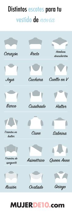 Aprende a diferenciar los distintos estilos de escotes cuando vayas e elegir tu … Learn to differentiate the different styles of necklines when you go and choose your wedding dress. Fashion Design Inspiration, Fashion Design Sketches, Diy Vetement, Fashion Vocabulary, Fashion Dictionary, Clothing Logo, Diy Fashion, Fashion Tips, Fashion Clothes