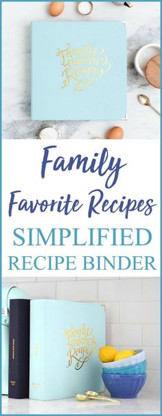 The Simplified Recipe Binder features a beautiful light blue leatherette and gold foil cover, a gold three-ring clip inside, six foil pressed dividers, and a white keepsake box. Perfect for housing your family favorite recipes printed straight from the computer or hand written and passed down, the Simplified Recipe Binder includes dividers for drinks, appetizers, salads, main dishes, side dishes, and desserts. #ad
