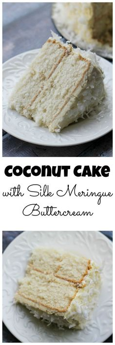 Coconut Cake with Silk Meringue Buttercream is light, fluffy and perfect for a spring dessert! Not overly sweet like many of its counterparts, each bite of this version tastes like paradise.