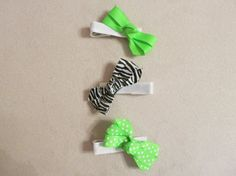 Hair Clip Bows Lime Green & Zebra Print Set of 3  by JessicasJules