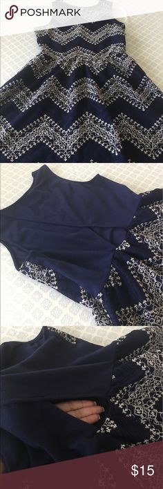 NAVY AND WHITE EMBROIDERY DRESS Navy Dress.... Fit and Flare dress. Open in back near lower waist. Really cute fit. Junior M/L No Trades. Dresses