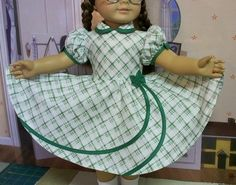 Swirl frock with circle skirting American Girl Outfits, American Girl Doll Molly, American Doll Clothes, Girl Doll Clothes, Baby Girl Party Dresses, Little Girl Dresses, Girls Dresses, Baby Dress Design, Girl Dress Patterns