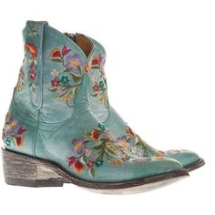 ☯☮ॐ American Hippie Bohemian Style ~ Boho Turquoise Embroidered Ankle Boots! Too Cute! by laurauppendahl