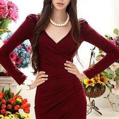 Elegant V neck Long Sleeve Red Dres..