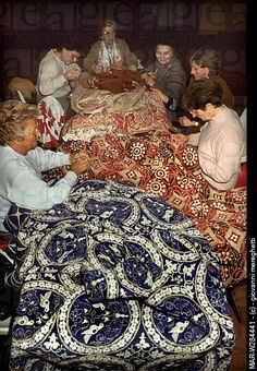 """Embroidery being done on reproduction costumes for the parade at the historical festival """"Carroccio"""", Legnano Italy"""