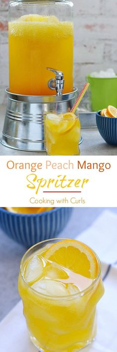 Keep your guest cool this summer with this light and refreshing Orange Peach Mango Spritzer | cookingwithcurls.com