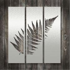 Man cave ideas - Lisa Sarah Stainless Steel Art - Silver Fern Triptych