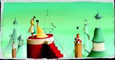 Éric Puybaret ilustra el cuento clásico de Perrault La Bella Durmiente del Bosque.     Ilustraciones elegantes, llenas de color para un álbum ilustrado publicado por Edelvives, la editorial de  literatura infantil y juvenil.
