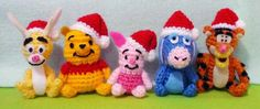 5 pcs Crochet Christmas dolls, Piglet - Mini Winnie the Pooh - Tigger, Bunny and Eeyore Amigurumi- Finish Doll