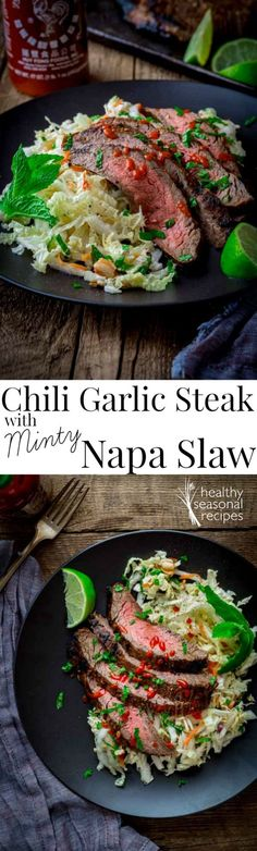 Blog post at Healthy Seasonal Recipes : This fresh minty Napa cabbage slaw is topped with chili and garlic marinated flank steak. I cooked the beef under the broiler, and I have te[..]