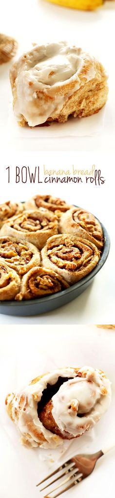 AMAZING 1 Bowl Banana Bread Cinnamon Rolls - tender, flaky, perfectly sweet and seriously simple. Brownie Desserts, Oreo Dessert, Mini Desserts, Coconut Dessert, Baker Recipes, Vegan Recipes, Cooking Recipes, Bread Recipes, Vegan Sweets