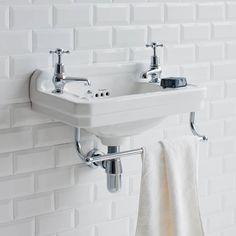 Burlington 51cm Cloakroom Basin with Towel Rail - 2 Tap Hole Cloakroom Sink, Downstairs Cloakroom, Basin Sink Bathroom, Downstairs Toilet, Cloakroom Ideas, Cloakroom Toilets, Tile Bathrooms, Wall Mounted Bathroom Sinks, Basin Taps