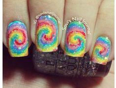 Tie dye swirl nails