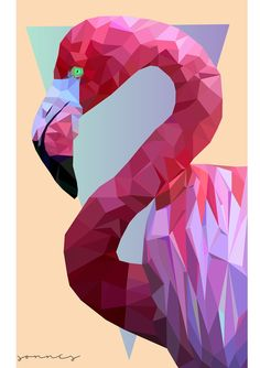 Geometric Flamingo on Behance Monochromatic Art, Polygon Art, Arte Pop, Geometric Art, Geometric Animal, Art Drawings Sketches, Art Plastique, Character Art, Pop Art