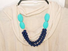 2 Tier Navy and Turquoise Silicone Teething Necklace