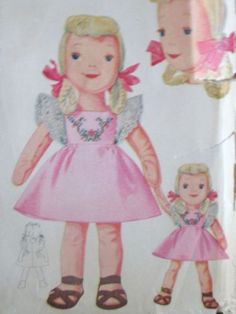 Such a Sweet Gift to Make for Christmas of Just Because!  Vintage 1940s Big Little Sister Doll Pattern