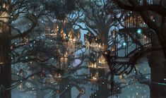 Illustration Art painting trees city rain Forest Houses digital art path village branches Paul Lasaine