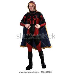 One young man in a super suit and a red cloak. He stands with his hands trying to keep something. 3D rendering, 3D illustration