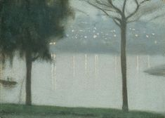 Across the Yarra, Clarice Beckett, (Australian, 1887 – Contemporary Landscape, Abstract Landscape, Landscape Paintings, Landscapes, Australian Painting, Australian Artists, Nocturne, Landscape Illustration, Illustration Art