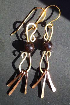 Red Brass Copper and Garnet Dangle Earrings Wire by #RadWire Jewelry