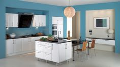 Kitchen, Fancy Color Ideas For Kitchens With Blue Painted Walls And White Kitchen Cabinets Also Glossy Black Countertops: Fabulous Color Ideas for Kitchens with Fantastic Interior Design
