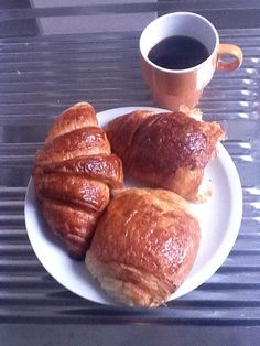 Best breakfast I had in France.. Chocolate filled croissants and espresso. Julien brought this to me my first morning in Paris :)