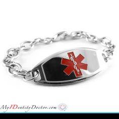 Customized Pre-Engraved /& Customized Treenut Allergy Alert Bracelet Red Red Millefiori Glass My Identity Doctor