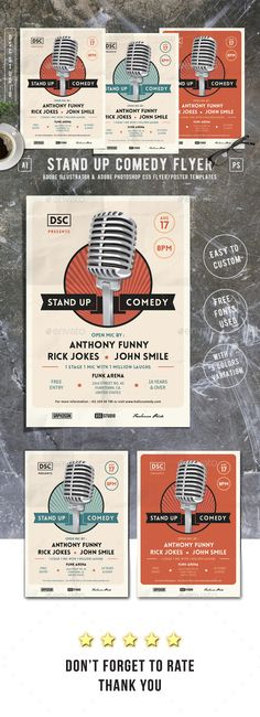Stand Up Comedy Flyer Template PSD, AI Illustrator. Download here: https://graphicriver.net/item/stand-up-comedy-flyer/17389047?ref=ksioks