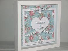 Craft Frames, Frame Crafts, Box Frames, Anniversary Dates, Wedding Anniversary, Wedding Day, Personalised Prints, D Day, Vintage Roses