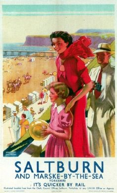 ENGLAND - YORKSHIRE - NORTH YORKSHIRE, Saltburn by the Sea Vintage Tourism Poster - Saltburn And Marske By The Sea