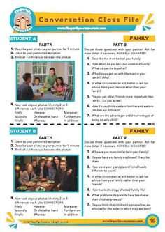 An engaging, fun & interactive pairwork speaking activity. The activity can be used for a 1-1 speaking class or as a pairwork conversation activity in a larger class. Encourage use of CONNECTORS: ‣Firstly, Secondly, Finally ‣However, On the other hand, Whereas ‣Furthermore, In addition, Moreover Encourage students to: ‣Extend their answers ‣Elicit more information ‣Agree / disagree with their partners ‣Justify their arguments English Learning Spoken, Teaching English, Learn English, English Conversation For Kids, Conversation Cards, English Activities, Teaching Activities, Journal Jar, English Exercises