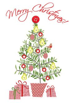 christmas tree illustration ❥Teresa Restegui http://www.pinterest.com/teretegui/❥