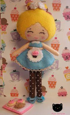 Bakery Girl Felt Doll by MiaGatita on Etsy, $25.00