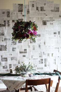 DIY Fresh Flower Pendant Light from Paper & Stitch